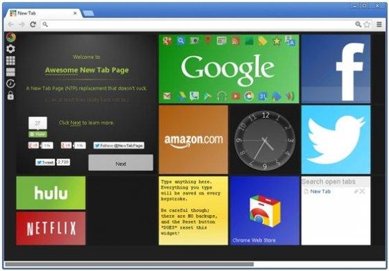 Vista de nueva pestaña en Google Chrome con la interfaz Metro