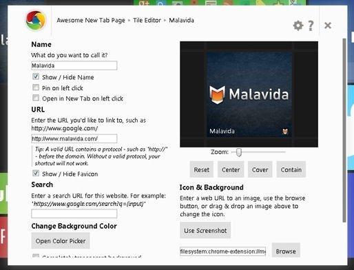 Creando un widget para Malavida en Awesome New Tab Page