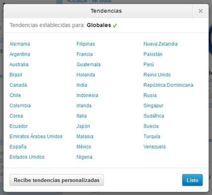 Tendencias globales en Twitter