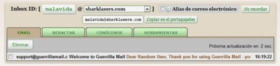 Crear una nueva dirección de correo en Guerrila Mail