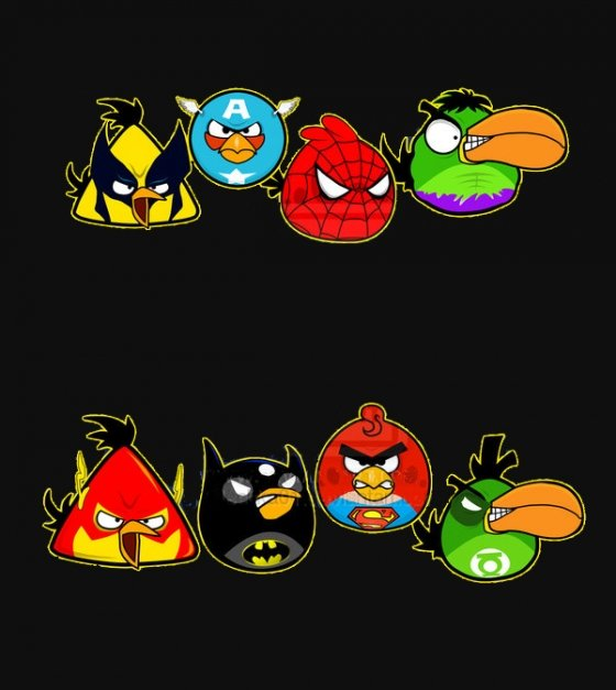 Angry Birds Superman Batman Capitán América Linterna Verde Spiderman
