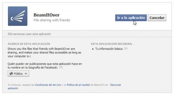 Formulario de instalación de BeammItOver en Facebook