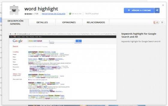 word highlight en la Chrome Web Store