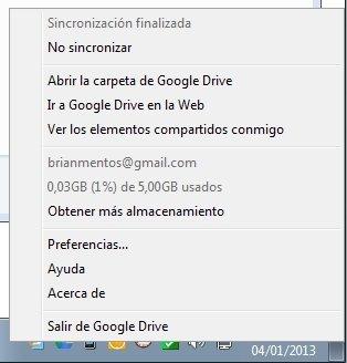 Menú contextual de Google Drive