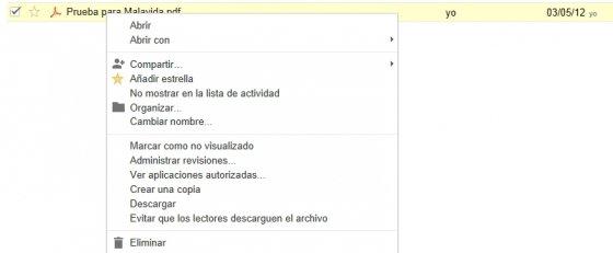 Opciones disponibles para archivos en Google Drive