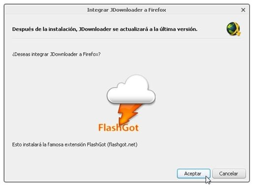 Opción de JDownloader para instalar FlashGot de forma automática