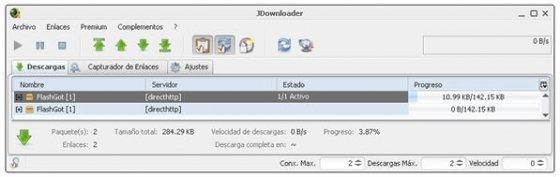 JDownloader en acción, descargando enlaces enviados desde Firefox