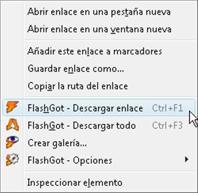 Nuevo menú contextual tras la integración de Firefox y JDownloader a través de FlashGot
