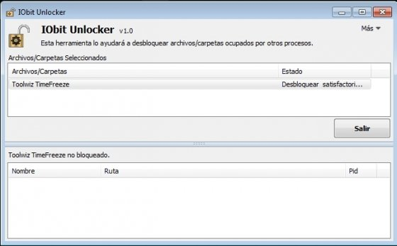 Desbloqueo satisfactorio con IObit Unlocker