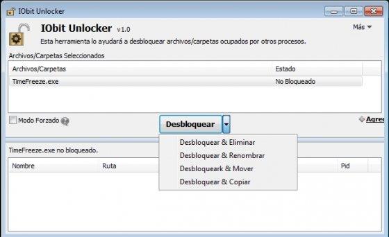 Opciones para desbloquear con IObit Unlocker