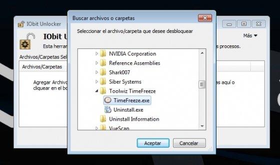 Seleccionar archivo para desbloquear con IObit Unlocker