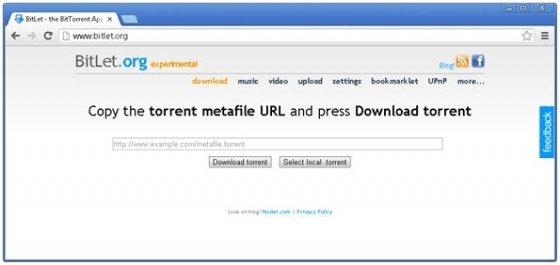 Portada de la aplicación web BitLet