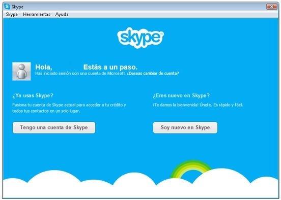 Dos opciones disponibles para iniciar sesión en Skype
