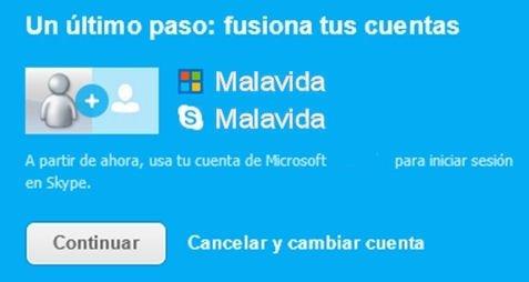 Fusión de cuentas de Microsoft y Skype