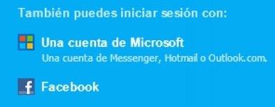Opción de login en Skype con una cuenta de Microsoft