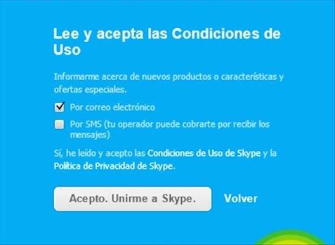 Iniciar sesión como nuevo usuario en Skype