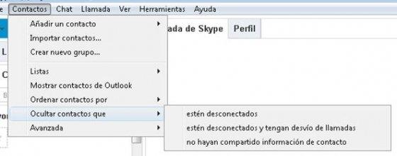 Configuración de vista de contactos