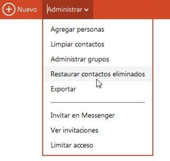 Restaurar contactos eliminados en la cuenta Microsoft