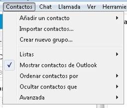 Opción para ver los contactos de Outlook