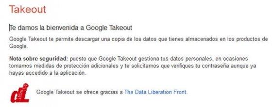 Portada del servicio Google Takeout