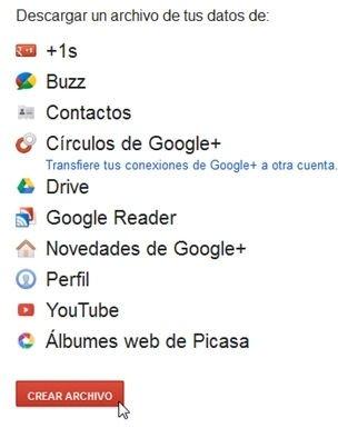 Descargar todos los datos de la cuenta de Google