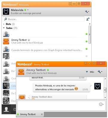 Conversación de prueba de chat en Nimbuzz