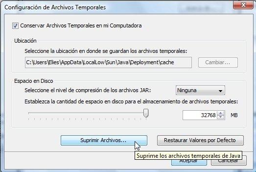 Borrar memoria caché de máquina virtual Java