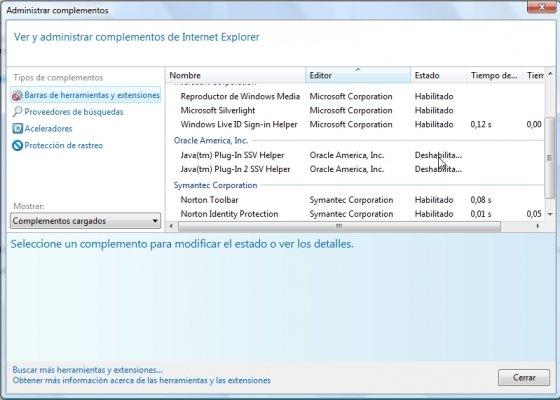 Deshabilitar Java de Internet Explorer