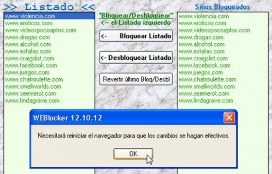 Listado de páginas web a bloquear