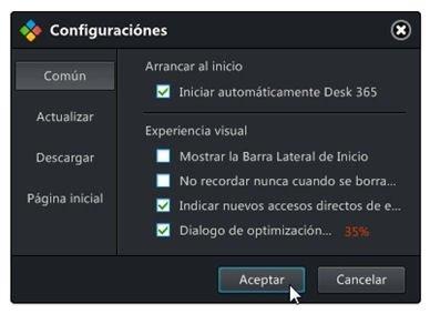 Menú de configuración de Desk 365