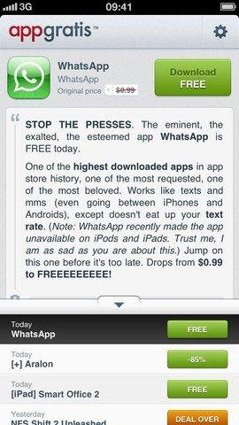 Captura de pantalla de AppGratis para iPhone