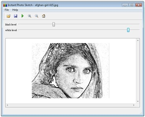 Retrato convertido en un dibujo a mano alzada