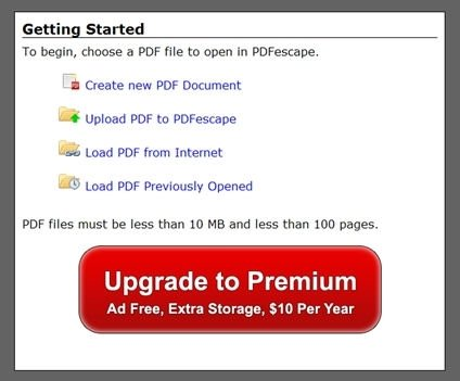 Elegir modo de uso de PDFescape