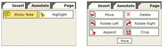 Paneles adicionales de PDFescape