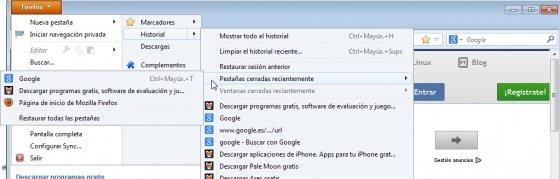 Recuperar pestañas en Firefox