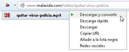 Selección de conversión del vídeo a través del menú contextual