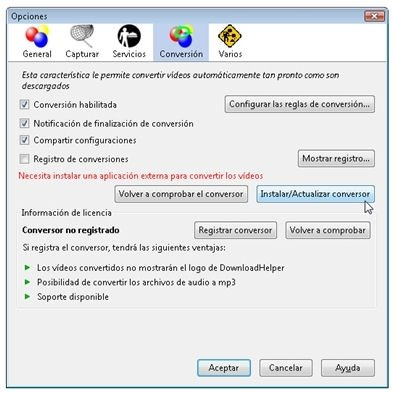 Instalar el conversor del que depende Video DownloadHelper