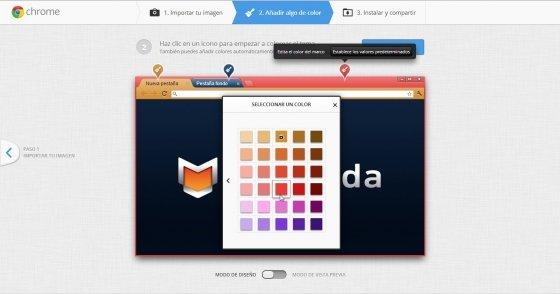 Configurar color en Mi Tema de Chrome