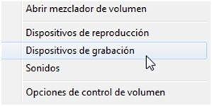 Ver dispositivos de grabación de Windows 7