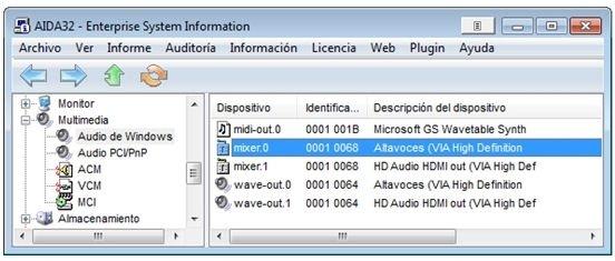 Descubrir la tarjeta de sonido instalada en el PC