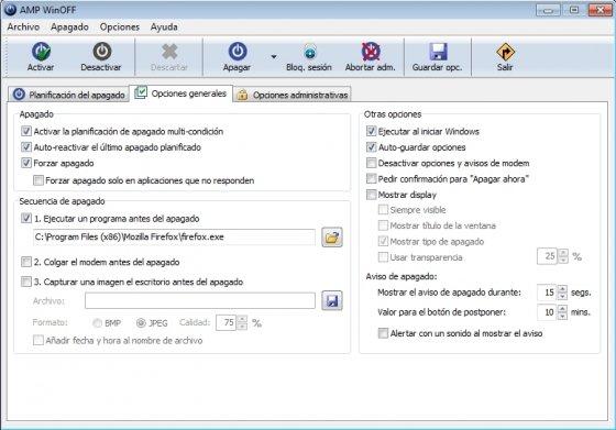 Configuración del proceso de apagado de Windows con WinOFF
