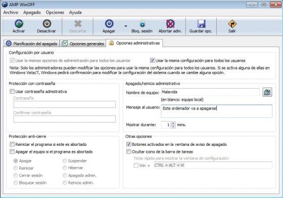 Administrar programa de apagado de Windows