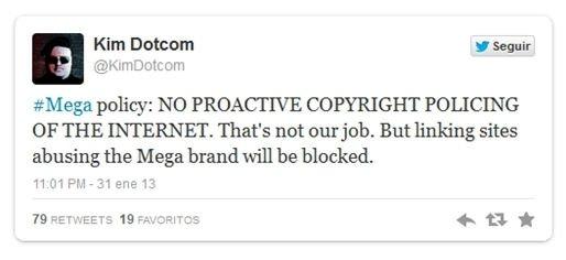 Mensaje de Twitter de Kim Dotcom sobre el bloqueo a MegaSearch