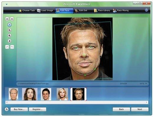 Detección de rasgos faciales en las imágenes originales