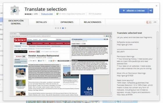 Extensión la Chrome Web Store