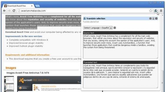 Traductor traduciendo un texto de idioma detectado a español