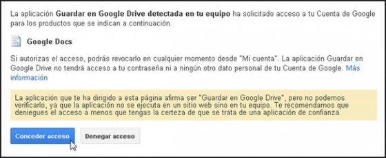 Aceptar permisos para usar Guardar en Google Drive