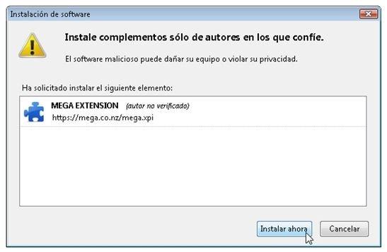 Aceptar la instalación del complemento y reiniciar el navegador