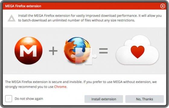 Ventana para instalar la extensión Mega en Firefox