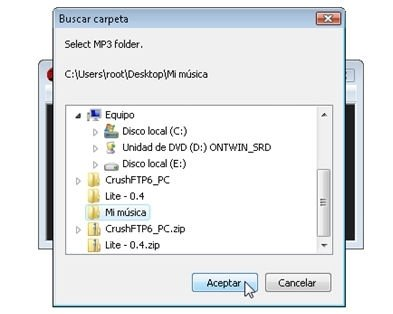 Configurar carpeta de música en MP3 para reproducir durante los anuncios